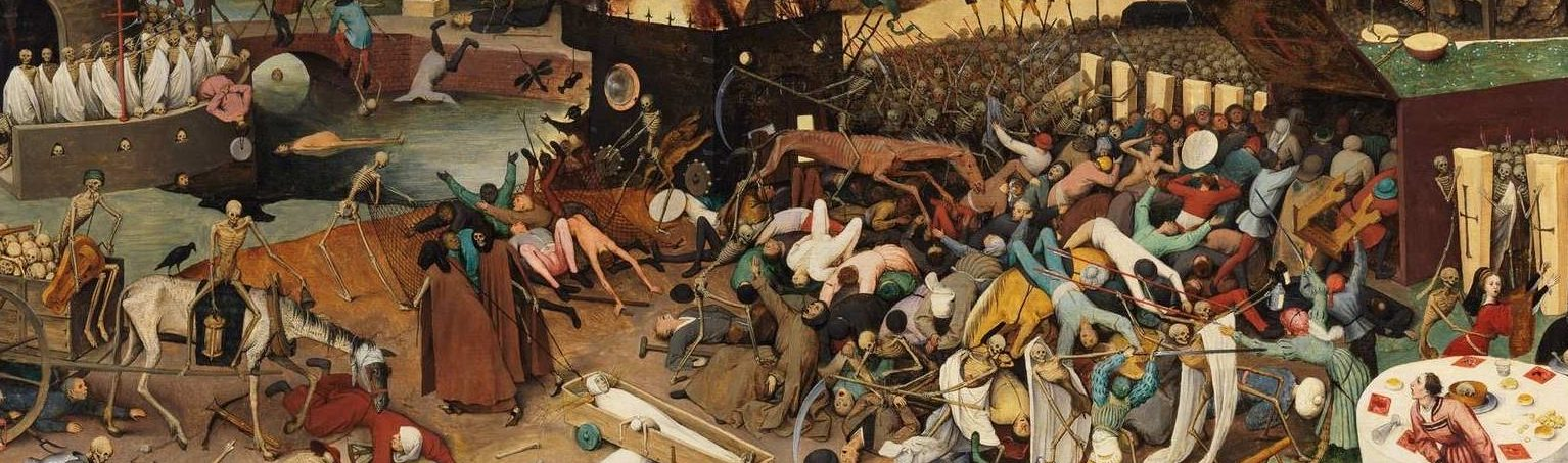 "Fear and the coronavirus pandemic by travel and therapy uses ""Triumph of Death"" by Peter Bruegel the Elder 1562 as illustration."